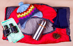 Travel set. Tourist outfit for camping or hiking. Stock Photo