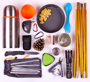 Travel set. Tourist outfit for camping or hiking. Royalty Free Stock Photos