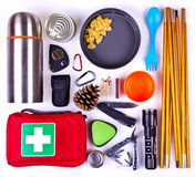 Travel set. Tourist outfit for camping or hiking. Stock Images