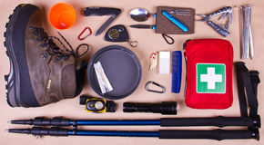 Travel set. Tourist outfit for camping or hiking. Stock Image