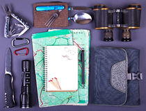 Travel set. Tourist outfit for camping or hiking. Royalty Free Stock Photo