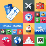 Travel Shadowed Icon Set Royalty Free Stock Photo