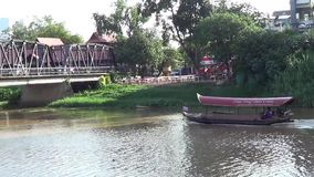 Travel Ship of  mae ping river cruise. CHIANGMAI, THAILAND - JUNE 11 2014 : Travel Ship of  mae ping river cruise. For travel in Ping river, Photo at Ping river stock video footage