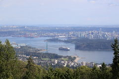 Travel by ship to see beautiful Vancouver, British Columbia Royalty Free Stock Image