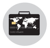 Travel and shop with credit card, luggage concept. Travel and shop around the world with credit card and luggage concept in flat design style, on grey background Royalty Free Stock Image