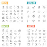 Travel and Shopping Line Icons Stock Photography