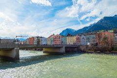 River Bridge Innsbruck Austria Europe stock image