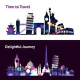 Travel Sights Banners. Travel horizontal banners set with world landmark silhouettes in spotlight isolated vector illustration Stock Images