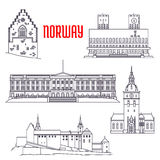 Travel sights of Norway icon in thin line style Stock Photography