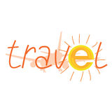 Travel sign with sun illustration and airplane Stock Photos