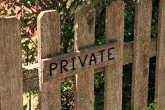 Travel signpost. Old signpost on wood, private property Royalty Free Stock Photo
