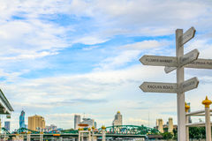 Travel signs by the Chao Phraya river behind is Bangkok view. Stock Photo