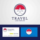 Travel Singapore Creative Circle flag Logo and Business card des. Ign - This Vector EPS 10 illustration is best for print media, web design, application design stock illustration