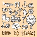 Travel sketch icons set Royalty Free Stock Image