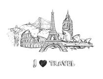 Travel Sketch Poster. With famous buildings and sights of world tourism isolated vector illustration Royalty Free Illustration