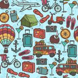 Travel sketch seamless pattern stock illustration