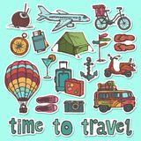 Travel sketch stickers set vector illustration