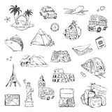 Travel, sketches of vector icons Stock Image