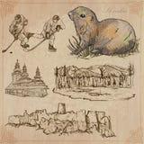 Travel: Slovakia. An hand drawn vector pack stock illustration