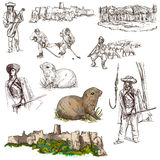 Travel: Slovakia. Pack of full sized hand drawn illustrations. Stock Photo