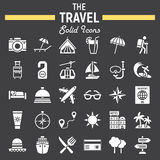 Travel solid icon set, tourism symbols collection Royalty Free Stock Photos