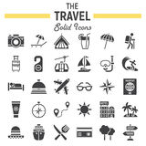 Travel solid icon set, tourism symbols collection. Transportation vector sketches, logo illustrations, filled pictograms package isolated on white background Royalty Free Stock Photo
