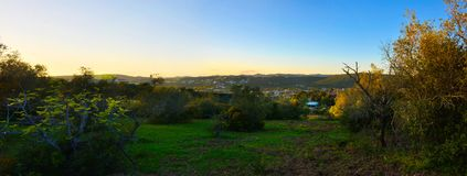 Travel Portugal, Mountains and Village Landscape, Country Sunset. S. Braz Alportel, outskirts of Faro city, mountains and village, Algarve region, Southern stock images