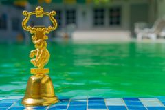 A travel Souvenir on the background of the pool royalty free stock image
