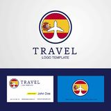 Travel Spain Creative Circle flag Logo and Business card design. This Vector EPS 10 illustration is best for print media, web design, application design user royalty free illustration