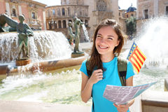 Travel in Spain - Tourist woman with map searching for directions. Royalty Free Stock Photos