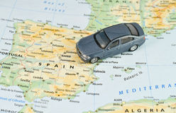 Travel in Spain. Toy car on a Spain paper map, travel Europe concept Stock Image