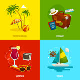 Travel square concepts, cartoon vector illustration Royalty Free Stock Photography