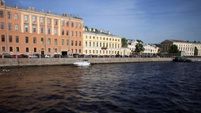 Travel in St. Petersburg Film Tilt. View of the Fontanka River in St. Petersburg stock footage