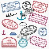 Travel stamp collection Royalty Free Stock Photo