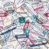 Travel stamp pattern. Vintage traveler passport airport visa arrived stamps. Traveling world vacation seamless vector stock illustration