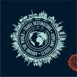 Travel stamp, travel background, travel destinations,. Around the world, airlines vector illustration