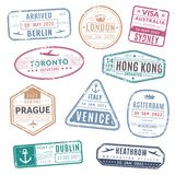 Travel stamp. Vintage passport visa international arrived stamps with grunge texture. Isolated vector set