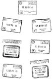 Travel Stamps. Passport travel grunge stamps / prints Stock Images