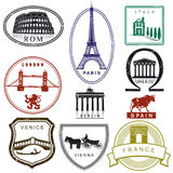 Travel stamps. Isolated on white, illustration Stock Photos