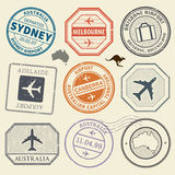 Travel stamps or adventure symbols set Australia airport theme. Vector illustration Royalty Free Stock Photography