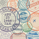 Travel stamps or adventure symbols set or background Royalty Free Stock Image