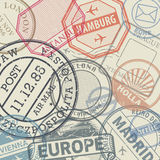 Travel stamps or adventure symbols set or background Stock Photos