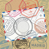 Travel stamps or adventure symbols set or background Royalty Free Stock Images