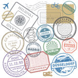 Travel stamps or adventure symbols set Europe theme Royalty Free Stock Photography