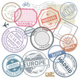 Travel stamps or adventure symbols set Europe theme Stock Photography