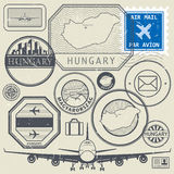 Travel stamps or adventure symbols set, Hungary theme Royalty Free Stock Photos