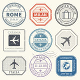 Travel stamps or adventure symbols set Italy airport theme. Vector illustration Royalty Free Stock Photos