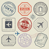 Travel stamps or adventure symbols set, Japan airport theme. Names of airports also in japanese language, vector illustration Royalty Free Stock Photo