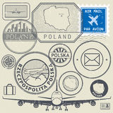 Travel stamps or adventure symbols set, Poland theme Stock Photos