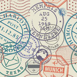 Travel stamps or adventure symbols set, seamless pattern Stock Photo